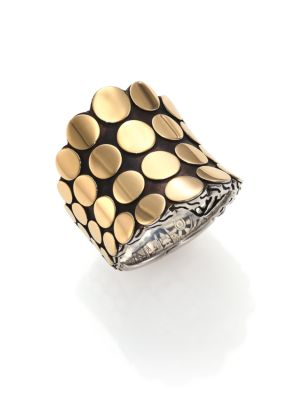 Dot 18K Yellow Gold & Sterling Silver Saddle Ring