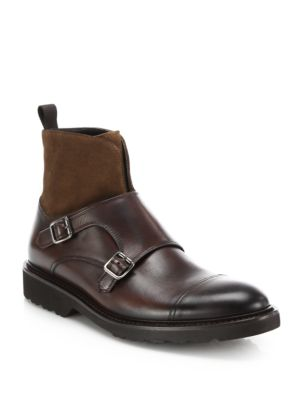 Sean Mixed-Media Double Monk-Strap Boots