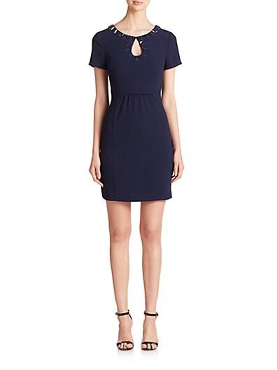 Embellished Shirred-Detail Dress