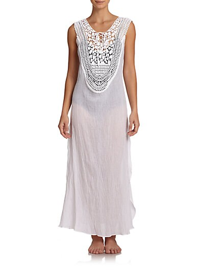 Gisele Lace-Up Cotton Maxi Dress