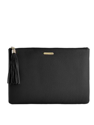 Uber Pebbled Leather Clutch