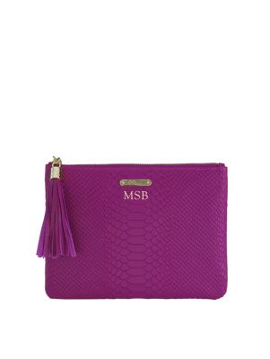 Personalized All-In-One Python-Embossed Leather Clutch