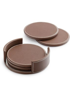 Preston Leather-Covered Coasters/Set Of 4