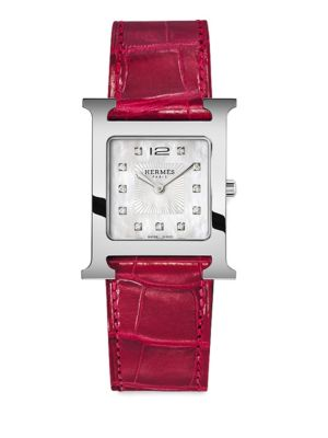 Heure H Diamond, Stainless Steel & Red Alligator Strap Watch