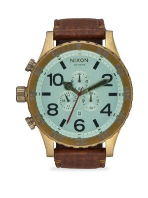 51-30 IP Stainless Steel & Leather Chronograph Strap Watch