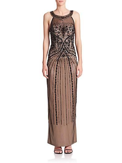Beaded Column Gown $185.72 AT vintagedancer.com