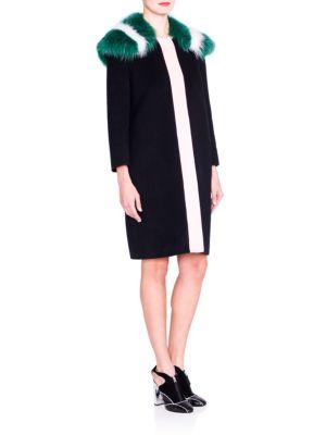 Fur-Collar Colorblock Wool Coat