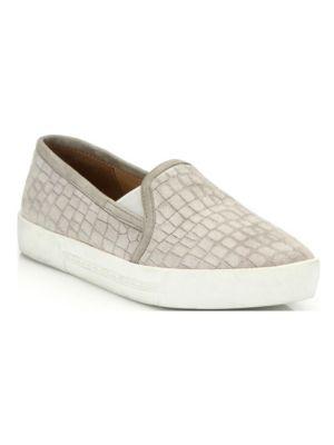 Huxley Croc-Embossed Suede Skate Sneakers