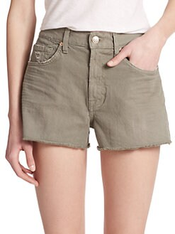 7 For All Mankind - Washed Twill Cut-Off Shorts