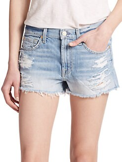 7 For All Mankind - Distressed Cut-Off Denim Shorts
