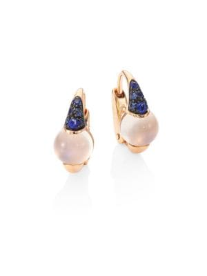 M'ama Non M'ama Blue Sapphire, Moonstone & 18K Rose Gold Earrings