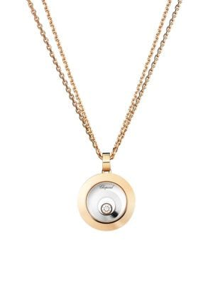 Happy Spirit Diamond, 18K Rose & White Gold Double Circle Pendant Double-Chain Necklace