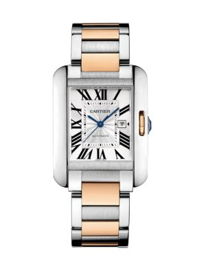 Tank Anglaise Automatic Medium 18K Pink Gold & Stainless Steel Bracelet Watch