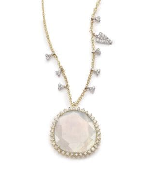 Chalcedony, Mother-Of-Pearl, Diamond & 14K Yellow Gold Doublet Pendant Necklace