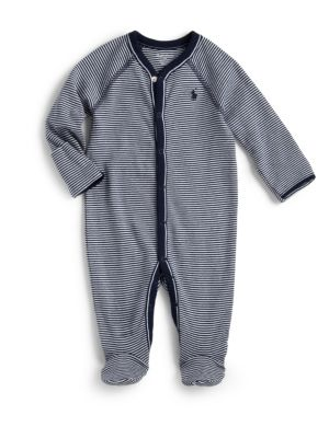 Baby Boy's Striped Cotton Jersey Footie