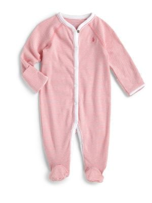 Baby Girl's Striped Cotton Footie