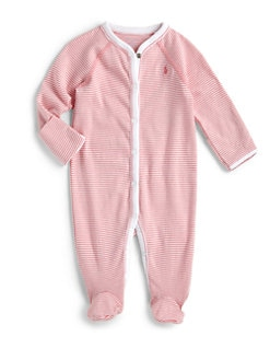폴로 랄프로렌 여자 아기용 스트라이프 우주복 Polo Ralph Lauren Baby Girls Striped Cotton Footie,Paisley Pink