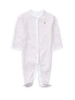 폴로 랄프로렌 여자 아기용 플로럴 우주복 Polo Ralph Lauren Baby Girls Floral Cotton Footie,White Pink
