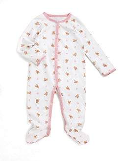 폴로 랄프로렌 여자 아기용 곰 우주복 Polo Ralph Lauren Baby Girls Bear Print Cotton Footie,White Pink
