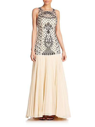 Beaded Drop-Waist Gown $237.31 AT vintagedancer.com