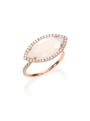 Chalcedony, Mother-Of-Pearl Diamond & 14K Rose Gold Doublet Marquis Ring