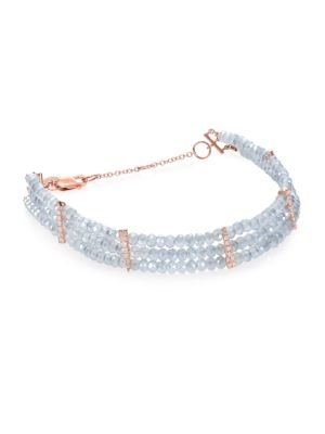 MEIRA T Mystic Quartz, Diamond & 14K Rose Gold Three-Row Beaded Bracelet