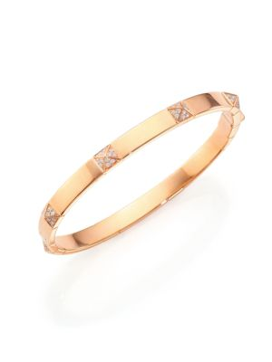 Pyramide Diamond & 18K Rose Gold Station Bangle Bracelet