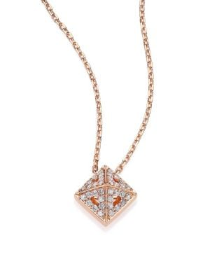 Astrid Diamond & 18K Rose Gold M+M Cube Necklace