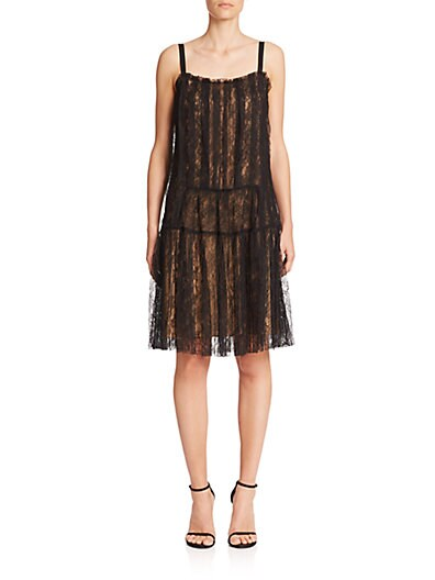 Pleated Lace Flapper Dress $699.55 AT vintagedancer.com