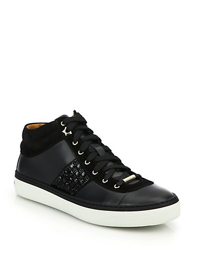 Bells Gem-Studded Leather Sneakers