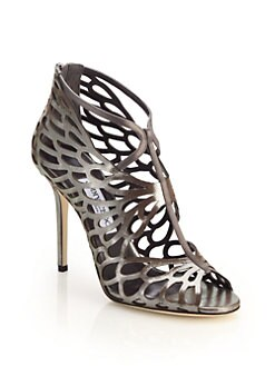 c01c8b8640ac Jimmy Choo Fyonn Laser-Cut Metallic Leather Sandals