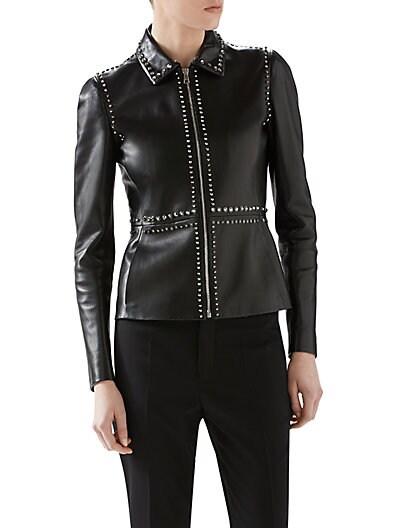 Embellished Plonge Leather Jacket
