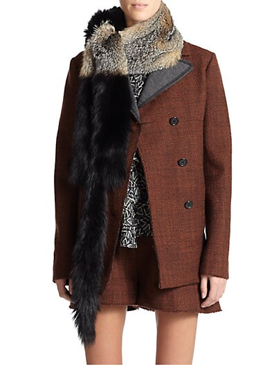 Bicolor Gray Fox Fur Stole $1,819.38 AT vintagedancer.com