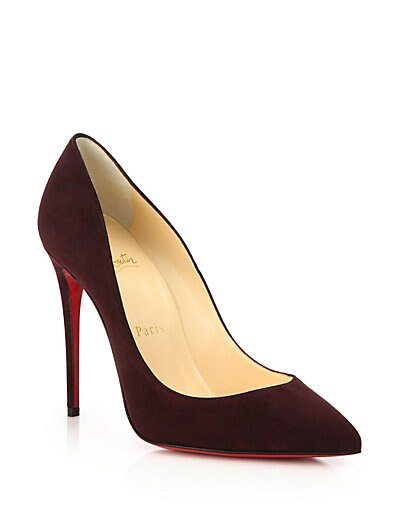 CHRISTIAN LOUBOUTIN Pigalle Follies Suede Point-Toe Red Sole Pump