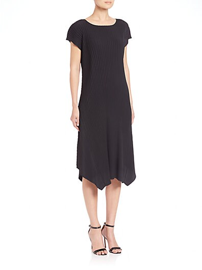 Pleated Handkerchief-Hem Dress $515.89 AT vintagedancer.com