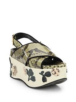 3330f62751 Marni Floral-Paneled Python & Leather Platform Sandals