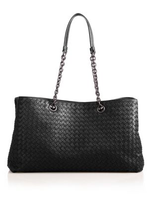 Intrecciato Leather Top-Handle Bag