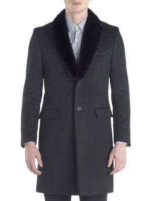 Mink-Collar Wool & Cashmere Topcoat