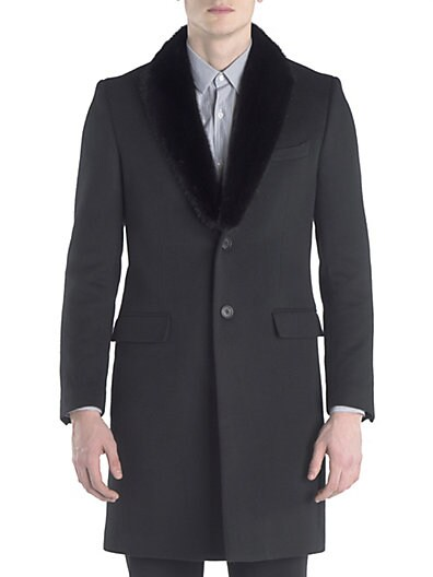 Mink-Collar Wool  Cashmere Topcoat $3,645.64 AT vintagedancer.com