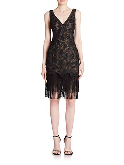 Fringed Lace Cocktail Dress $406.13 AT vintagedancer.com