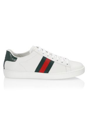 Leather Sneakers With Web Detail by Gucci
