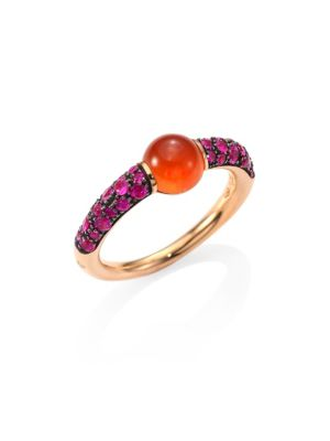 M'ama Non M'ama Pink Sapphire, Hessonite Garnet & 18K Rose Gold Ring