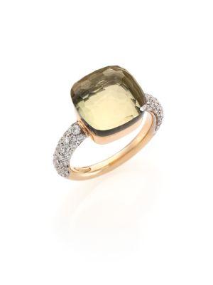 Nudo Prasiolite, Diamond & 18K Rose Gold Ring