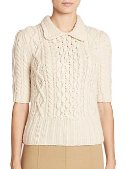 Michael Kors Collection - Peter Pan Collar Merino Wool Sweater