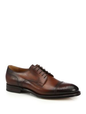 gucci male perforated leather derby shoes