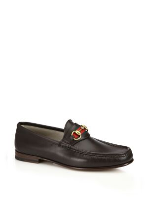 gucci male leather horsebit loafers