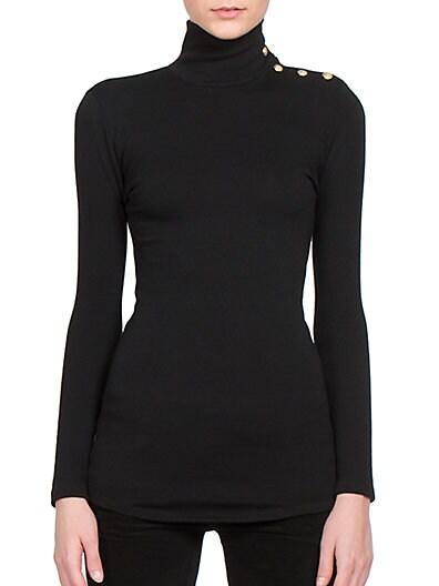 Button-Detail Wool & Cashmere Turtleneck Top
