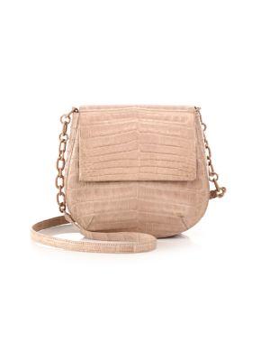 Round Crocodile Crossbody Bag