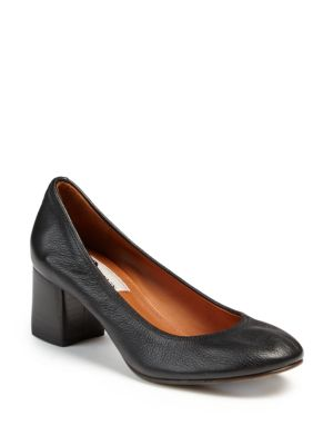 Lanvin Block-Heeled Leather Pumps