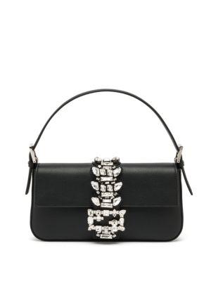 Swarovski Crystal Embellished Leather Top Handle Bag